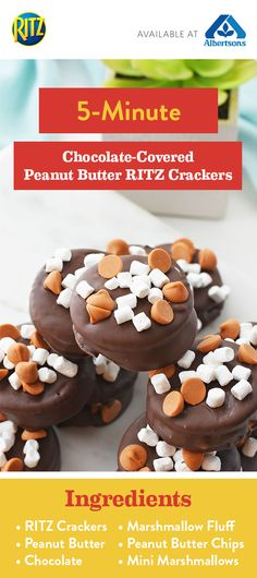 Say hello to your new favorite treat! Simply sandwich RITZ Crackers with peanut butter and marshmallow topping, then coat in chocolate. Yes, it really is that easy to create this recipe for sweet-meet-salty bites! When you shop all the ingredients you'll need at Albertsons, you can make these 5-Minute Chocolate-Covered Peanut Butter Crackers for yourself. Don't wait—click to learn more!