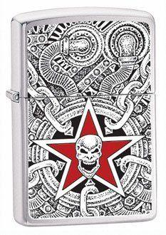 Zippo Lighter, Chrome Finish, Household, Skull, Black And White, Stars, Industrial, Urban Style, Objects