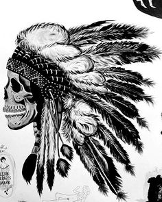 skull and Indian head dress