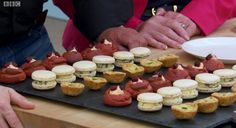 Becas canapes including stilton macaroons Great British Bake Off semi final   Episode 9, Series 5: French Week #Greatbritishbakeoff #gbbo