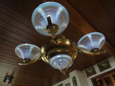 Art Déco Opalglas Lampe/Deckenlampe/Leuchte/Opaline glass Ceiling lamp