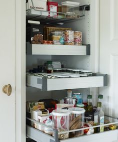 Use pull-out shelves in the pantry to ensure no space is wasted