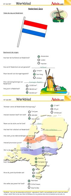 Werkblad : Nederland Quiz - OPLOSSINGEN Skills To Learn, Life Skills, Biology For Kids, Learn Dutch, Dutch Language, German Words, School Levels, Free Courses, School Hacks