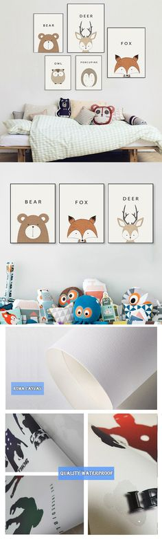 Cute Cartoon Animal Minimalist Art Canvas Poster Print Deer Bear Modern Nursery Picture for Modern Home Kids Room Decor 035 $6.59