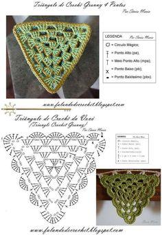 Looking for the best free crochet patterns? We has over 2500 free crochet patterns and knit patterns to choose from! Crochet Triangle Pattern, Crochet Shawl Diagram, Crochet Motifs, Crochet Chart, Crochet Doilies, Crochet Stitches, Free Crochet, Crochet Bunting, Crochet Garland