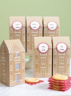 Martha Stewart cookie boxes. Cute look like gingerbread houses.
