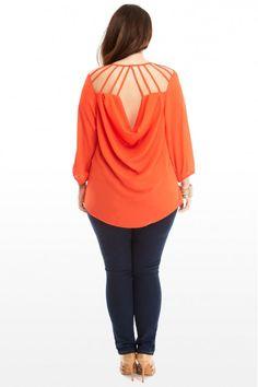 Plus Size Lattice Back Chiffon Top | Fashion To Figure