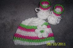Crochet Baby Girl Hat and Booties