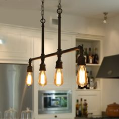 Carbon Loft Budge Kitchen Island-lighting Industrial Pendant-lights for Dining Room – x x - All For Decoration Vintage Industrial Lighting, Industrial Light Fixtures, Industrial Pendant Lights, Rustic Lighting, Industrial Design, Kitchen Industrial, Rustic Industrial, Industrial Lighting Products, Industrial Apartment