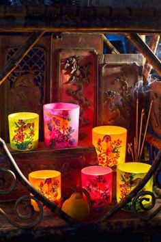 Set of 3 Mixed Colors Paper Mache Votives, Candles are the perfect touch to any relaxing space