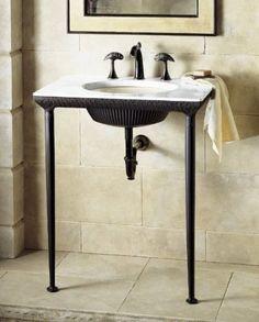 Kohler K 6898 P5 Lotus Pool Iron Console Table Black Pedestal