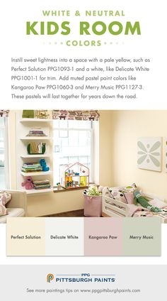 Kid's Room Paint Color Advice : Instill sweet lightness into a space with a pale yellow, such as Perfect Solution by PPG Pittsburgh Paints and a white, like Delicate White for trim. Add muted pastel paint colors like Kangaroo Paw and Merry Music. These pastels will still be a good fit for a child's space for years down the road as they grow.