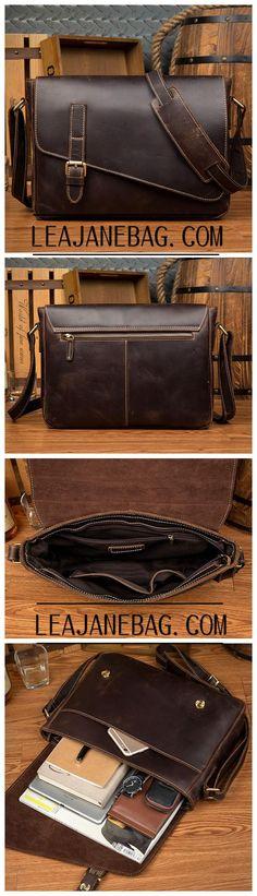 Leather Messenger Bag, Handmade Leather Briefcase, Business Bag MS159