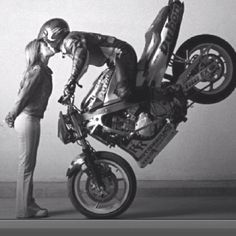 Would be a hella-cool engagement picture, but definitely don't trust Justin on his motorcycle enough to pull this off.