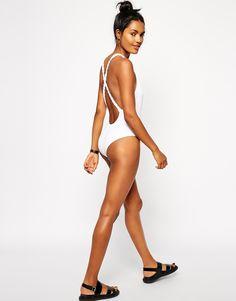 Image 4 of ASOS Braid Back Plunge Swimsuit