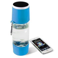 The Wireless Speaker Water Bottle offers life's vital fluid and Bluetooth connectivity. The water bottle has a carabiner clip for easy portability.