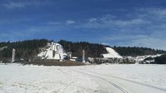 Ski jumps at Olympia Parken in Lillehammer Norway.