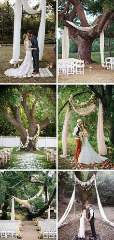 Many couples want to have an altar, chuppah or ceremony table. If you are getting married in a natural setting why not use the trees as a natural backdrop for your ceremony? Here are some beautiful ideas to get the creative juices flowing! Source 1 Source 2 Source 3 Source 4 Using the natural trees …