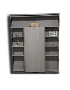 Grey wall Beds - Compatto Wall bed Revolving Bookcase with Table. Murphy Bed Ikea, Murphy Bed Plans, One Room Flat, Revolving Bookcase, Expand Furniture, Fold Up Beds, Horizontal Murphy Bed, Bed In Closet, Homes