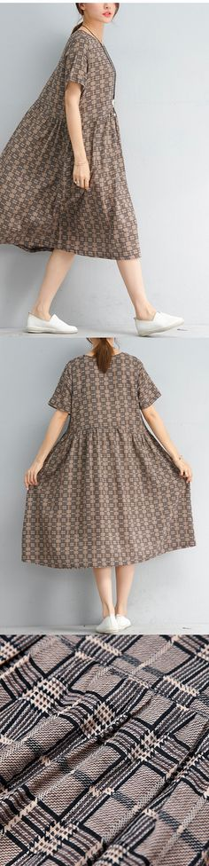 0fbee603c69 New multi color plaid linen dresses casual holiday dresses Fine short  sleeve o neck cotton dress