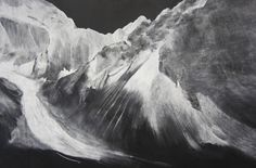 chalk on blackboard depictions of afghanistan mountains by tacita dean