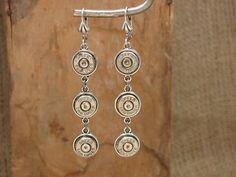 Bullet Casing Jewelry - Triple Nickel 9mm Dangle Earrings - Bullet Bling. $42.00, via Etsy.