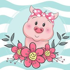 greeting card cute cartoon pig with flower in blue background - Buy this stock vector and explore similar vectors at Adobe Stock Cute Animal Drawings, Cute Drawings, Cartoon Wallpaper, Pig Drawing, Cute Cartoon, Cartoon Pig, Pig Illustration, Pig Art, Cute Pigs
