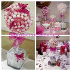 pink and white lollipop sweet tree and marshmallow sweet trees with a candy buffet  www.partytreats.org Marshmallow Tree, Sweet Trees, Candy Buffet, Princess Party, Party Ideas, Baby Shower, Table, Projects, Pink