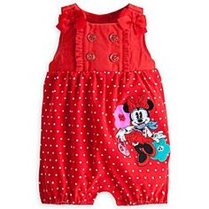 Disney Minnie Mouse City Knit Romper for Baby | Disney StoreMinnie Mouse City Knit Romper for Baby - She'll sweep you off your feet in this adorable knit romper featuring an embroidered Minnie Mouse appliqu�, polka dot print and precious bow on each shoulder.