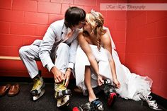 What hockey girl doesn't want to go ice skating in her wedding dress?