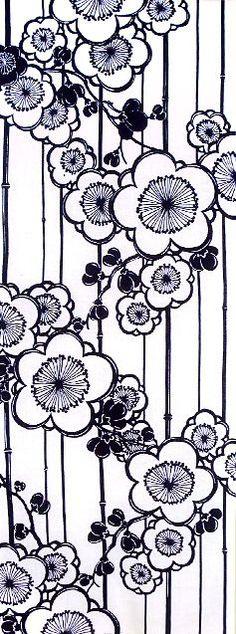 三勝 手ぬぐい 四季の花一色シリーズ「梅」Japanese tenugui (towel)