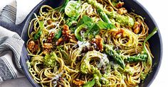 The capers in the pesto add wonderful acidity and saltiness to this spaghetti dish.