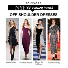 """NYFW Runway Trend: Off-Shoulder Dresses"" by polyvore-editorial ❤ liked on Polyvore featuring Pamella Roland, Oscar de la Renta, Rachel Comey, Nicole Miller and pvnyfw"