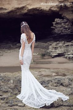 Sierra wedding gown with a fit and flare embellished customised skirt // Fall in Love With Anna Campbell's