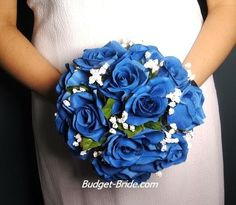 Sapphire Blue Wedding Bouquet with Roses