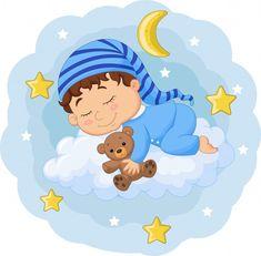 Cartoon Baby Sleeping With Teddy Bear On The Clouds Sleep Teddies, Illustration Plate, Panda Lindo, Doodle, Cloud Vector, Easy Drawings For Kids, Ads Creative, Baby Cartoon, Newborn Pictures