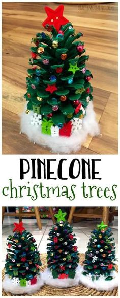 Make adorable pinecone christmas trees for a Christmas kids craft! So easy and cute. by jessie Pinecone Christmas Crafts, Pine Cone Christmas Tree, Easy Crafts For Christmas, Pine Cone Crafts For Kids, Christmas Ideas For Kids, Pine Cone Christmas Decorations, Christmas Crafts For Preschoolers, Diy And Crafts, Kid Made Christmas Gifts