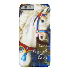 Live Laugh Love Quote White Carousel Horse Photo Barely There iPhone 6 Case - white gifts elegant diy gift ideas