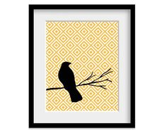 black bird with yellow pattern picture