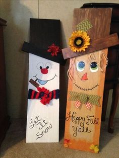 wooden snowman crafts my reversible scarecrow snowman more wood snowman projects snowman wood craft patterns Crafts Out Of Pallets, Pallet Crafts, Diy Crafts, Fall Wood Crafts, Wooden Crafts, Pallet Projects, Holiday Signs, Christmas Signs, Christmas Decorations