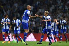Maicon celebrates with Maxi Pereira (right) after scoring the Porto winner in the minute José Mourinho, Uefa Euro 2016, Euro 2012, Chelsea, Fc Porto, Website Features, National Association, European Football, Uefa Champions League