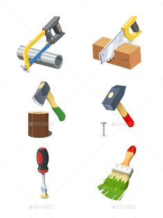 Tools. Set of Vector Icon. (Vector EPS, CS, armsaw, ax, background, brush, building, construction, eps10, hache, hacksaw, hammer, handsaw, housekeeping, icon, illustration, implement, instrument, inventory, isolated, job, nail, object, occupation, pin, profession, set, tack, tool, vector, white, work)