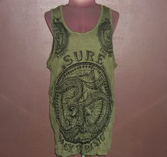 Image of Vintage Green Tank Tops Om Symbol Art T Shirt Women Indie Clothing Gym Workout Size L,XL