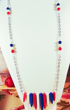 Necklace red white blue necklace red white by EarringsBraceletsEtc
