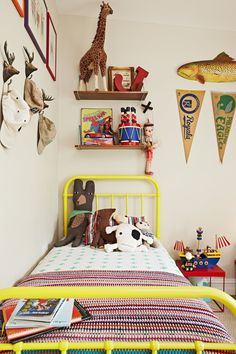 Johnny and Freddie's Cozy Collected Shared Room — Kids Room Tour (Apartment Therapy Main) Cool Kids Rooms, Room Kids, Child Room, Yellow Bedding, Ideas Hogar, Room Tour, Kid Spaces, Modern Spaces, Modern Kids