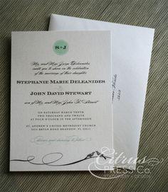 Love Birds and Flowers Wedding Invitation/ DIY by CitrusPressCo, $3.95