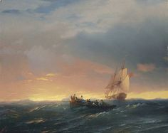 Ivan Aivazovsky, 'Vessels in a swell at sunset'  (1850).