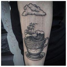 Storm in a teacup tattoo by Susanne König. Diskrete Tattoos, Bild Tattoos, Neue Tattoos, Body Art Tattoos, Cool Tattoos, Tattos, Friend Tattoos, Coffee Cup Tattoo, Coffee Tattoos