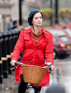 emily blunt's coat- Red Yumi coat, Accessorize knit beret and a multicolored Topshop scarf.