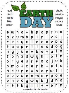 Earth Day word search and other activities and craftivities